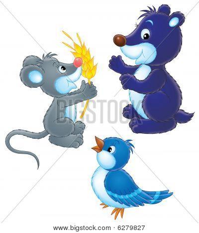 Bird, mole and mouse