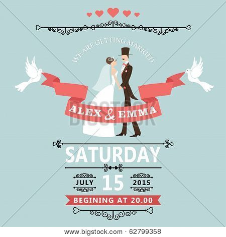 Wedding Invitation With Cartoon Bride And Groom