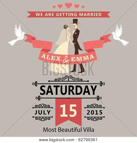 Wedding Invitation With Cartoon Bride And Groom.retro Style