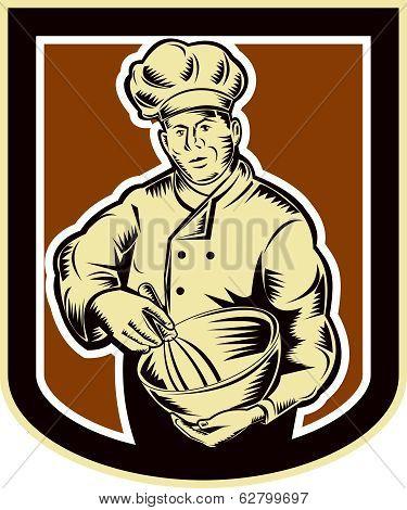 Baker Chef Cook Mixing Bowl Woodcut Retro