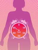 foto of hormone  - symbolic illustration of the time of onset of menopause - JPG