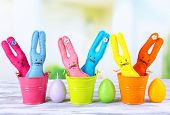 foto of ear candle  - Composition with funny handmade Easter rabbits - JPG