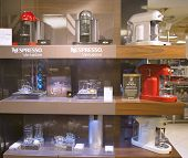 Variety of coffee machines in Nespresso store