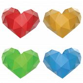 Polygonal Hearts Set
