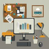 Work office. Flat vector illustration of modern business workspace. Stylish interior.
