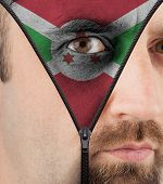 Unzipping Face To Flag Of Burundi