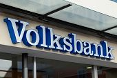 ESSLINGEN, GERMANY - APRIL 02,2014: Volksbank branch. Volksbank was founded in 1850 and as of 2013 e