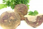 foto of rutabaga  - yellow rutabaga with parsley and napkin on a light background - JPG