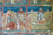 foto of suceava  - Beautiful details of a fresco painting from Humor Monastery - JPG