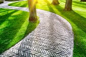 stock photo of paving  - Paved footpath in green spring park - JPG