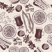 Vector Seamless Pattern With Vintage Hand Drawn Mulled Wine And Spices Illustrations