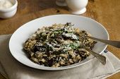 image of porcini  - Mushroom risotto with spinach topped with grated Parmesan - JPG
