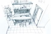 stock photo of interior sketch  - Graphical sketch by pencil of an interior kitchen - JPG