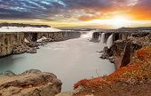 pic of northeast  - Selfoss waterfall in Vatnajokull National Park Northeast Iceland - JPG