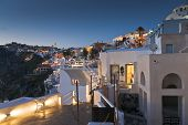 Twilight In Thira Of Santorini Island