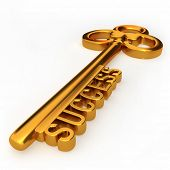 picture of key  - Golden key to success isolated white background 3d illustration - JPG