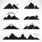 stock photo of snow capped mountains  - Set of mountain icons on white background - JPG