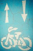 Bicycle sign and arrows sign on bicycle road