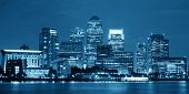 picture of canary  - Canary Wharf business district in London at night over Thames River - JPG