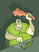 stock photo of troll  - Cartoon illustration of a troll in front of the computer trolling - JPG