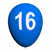 foto of sweet sixteen  - 16 Balloon Showing Sweet Sixteen Birthday Party - JPG