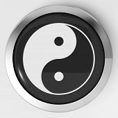 stock photo of ying-yang  - Ying Yang Button Meaning Spiritual Peace Harmony - JPG