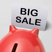 stock photo of slash  - Big Sale Piggy Bank Showing Price Slashed - JPG