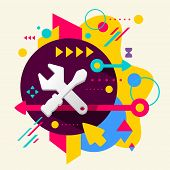 pic of rework  - Tools screwdriver and wrench on abstract colorful spotted background with different elements - JPG
