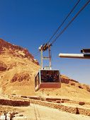 stock photo of masada  - Cable car in fortress Masada Israel - JPG