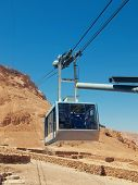 stock photo of masada  - funicular in fortress Masada Israel - JPG