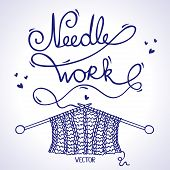 picture of knitting  - illustration silhouette knitting a word  - JPG