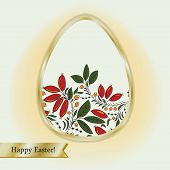 stock photo of barberry  - Easter egg with barberry beige greeting card with gold ribbon - JPG