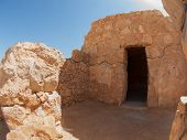 stock photo of masada  - Ruins of Herods castle in fortress Masada Israel - JPG