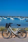 Formentera bicycle at Estany des Peix lake in Balearic Islands