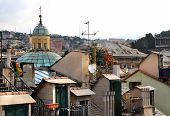 foto of genova  - Beautiful view of roofs of Genova - JPG