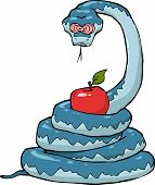 picture of serpent  - Biblical serpent with an apple on a white background vector illustration - JPG