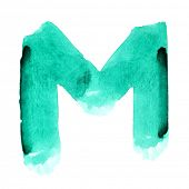 M - Watercolor letters over white background