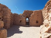 picture of masada  - Ruins of Herods castle in fortress Masada Israel - JPG
