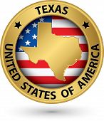 image of texas state flag  - Texas state gold label with state map vector illustration - JPG