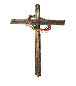 image of christian cross  - A Roman cross made of old weathered wood encircled by a bloody crown of thorns emblematic of the crucifixion of Jesus Christ - JPG