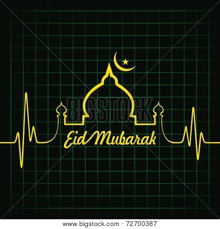 Creative calligraphy of text eid mubarak with heartbeat