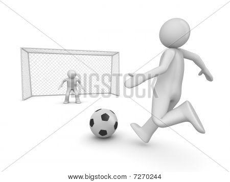 Soccer Forward In Penalty Area