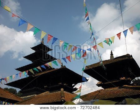 Traditional Nepali Prayer Flags In Front Of A Temple Complex
