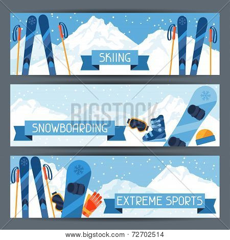 Winter extreme sports banners with mountain winter landscape.