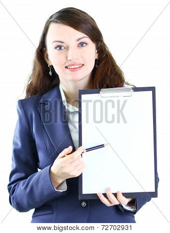 businesswoman with the work plan