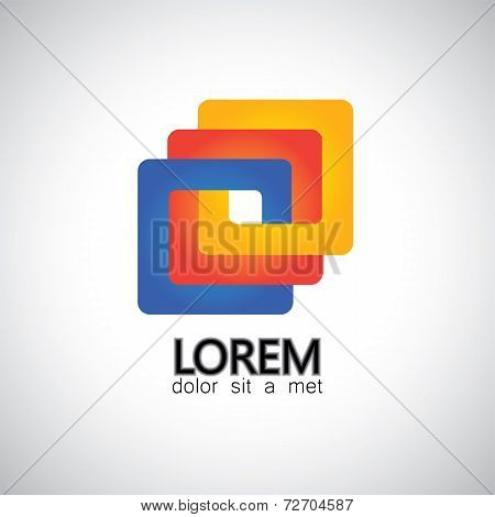 Colorful Abstract Business Squares Entangled - Vector Graphic Icon.