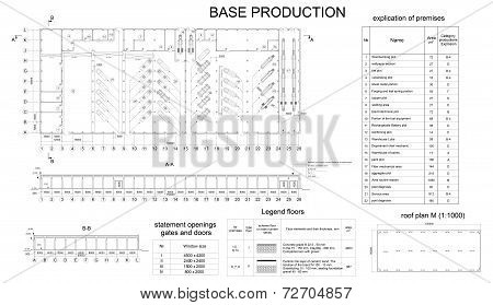 Detailed architectural drawing of the building motor company