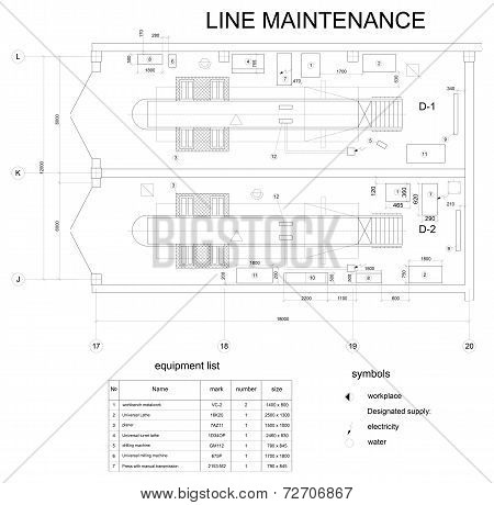 Detailed drawing of the building for car maintenance