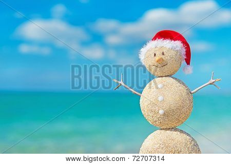 Smiley Sandy Snowman In Santa Hat. Holiday Concept For New Year