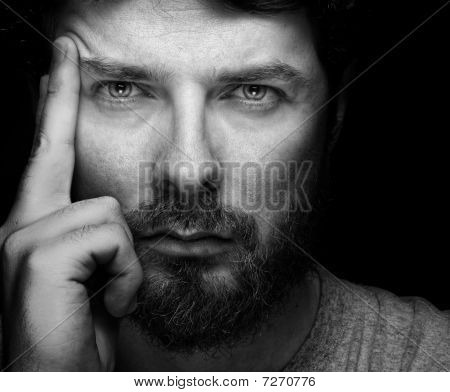 Face Of Handsome Bearded Confident Man